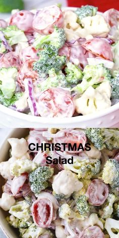 christmas recipes main dish Christmas Salad - Contains all the colors of Christmas! This fresh, bright salad is made with broccoli, cauliflower, red onion and cherry tomatoes mixed with a creamy dressing. Veg Salad Recipes, Salad Recipes Holidays, Christmas Salad Recipes, Christmas Dishes, Easter Recipes, Appetizers For A Crowd, Seafood Appetizers, Seafood Salad, Crab Salad