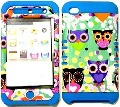 """myLife 2 Layered Protection Hybrid Case for Apple iPod 4 iTouch {Blue, Teal and Purple """"Kooky Staring Owls"""" Three Piece SECURE-Fit Rubberized Gel} myLife Brand Products http://www.amazon.com/dp/B00VU2O5IA/ref=cm_sw_r_pi_dp_nvdmvb0YDV5D1"""