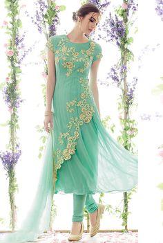 $51.11Aqua Georgette Designer Suit 56725