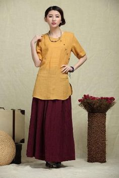 Linen Tunic Blouse Top / Yellow Shirt / Blouse- custom made by natalia Linen Tunic, Linen Blouse, Tunic Blouse, Shirt Blouses, Moda Funky, Style Funky, Linen Dresses, Dresses With Sleeves, Skirt And Top Dress
