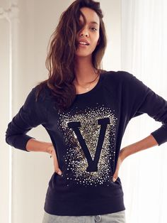 Downtime should never be dull. | Victoria's Secret Graphic Fleece Pullover