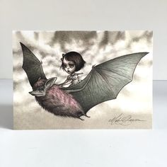 The Bat Rider signed 4 x 5.75 Mini Art Print by Mab by mabgraves