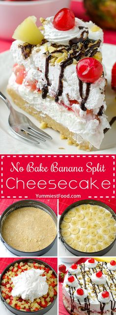 10 Most Misleading Foods That We Imagined Were Being Nutritious! No Bake Banana Split Cheesecake - Easy And Quick Summer Dessert Recipe For Refreshing Sweet Treat. Continuously A Hit With The Family Brownie Desserts, Oreo Dessert, Mini Desserts, Coconut Dessert, Potluck Desserts, Summer Dessert Recipes, Party Desserts, No Bake Desserts, Delicious Desserts