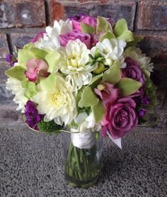 Purple Lavender and Apple Green Bouquet