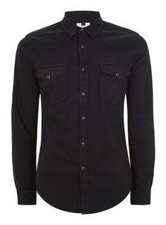 Black Stretch Western Shirt