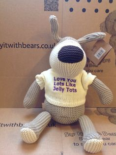 Personalised medium Boofle, we do love Jelly Tots too! Jelly Tots, Personalised Teddy Bears, Boodles, Tatty Teddy, Friends Forever, Dog Toys, Dinosaur Stuffed Animal, Dolls, Knitting