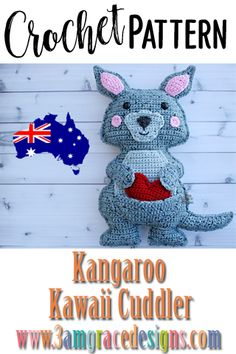Our Kangaroo crochet pattern & tutorial makes an adorable pillow for you or your favorite animal lover. How To Crochet A Kangaroo Amigurumi Cuddler Pillow Complete With Rosy Kawaii Cheeks And Smile! Our Kangaroo Crochet Pattern Works Up Quickly! Crochet Animal Amigurumi, Amigurumi Patterns, Crochet Animals, Crochet Dolls, Kawaii Crochet, Crochet Baby, Free Crochet, Knit Crochet, Easy Crochet Patterns