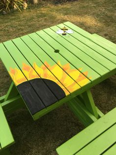 Garden Diy Ideas Painted Furniture Painted Picnic Tables Picnic