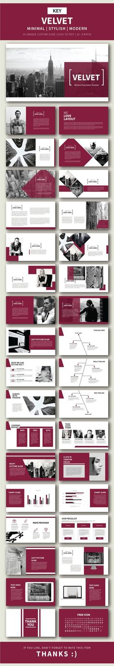 Velvet Keynote Presentation Template by BiruLangit MAIN FILE: Note : All Image Is Not IncludeDrag & Drop Image Image Placeholder Easy to change colors, Fully editable text, photos, Design Corporativo, Slide Design, Book Design, Layout Design, Clean Design, Keynote Presentation, Design Presentation, Presentation Templates, Power Point Presentation