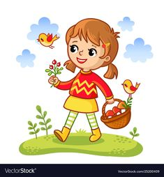 The girl collects mushrooms in a basket. Vector illustration in a cartoon style. Wesola child walks through the meadow. Art Drawings For Kids, Drawing For Kids, Easy Drawings, Art For Kids, Basket Drawing, Youtube Drawing, Cartoon Painting, Kids Canvas, Tiny Prints