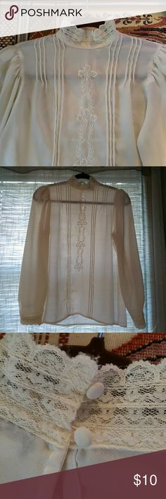 Vintage Silky Long Sleeve Blouse, Size 8 This is a gorgeous sheer blouse with lace and embroidered detail. Cream in color, no snags or stains. Lace is a little worn, can be seen in last photo. Brand is Regina Porter. 100% polyester. Machine wash cold, line dry. Regina Porter  Tops Blouses