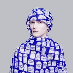 LUCAS GROGAN X SKARFE oversized Everyone Scarf in blue & white cotton | skarfe