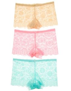 e1467337d2ff6  14.99 Amazon.com  Cotton Cantina Juniors Plus Size 3 Pack Sheer Full Lace  Floral Boy Shorts  Clothing