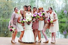 Love the mis-matched bridesmaid dresses. Photo by Joy Marie Photo #backyardwedding  Mariée Ami Weddings