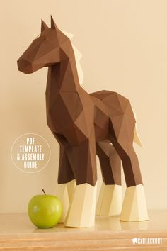 Horse Template Low Poly Papercraft - Make your own beautiful little horse using this downloadable DIY PDF template and illustrated guide from KaBlackout.