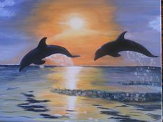 """""""Dolphins at Sunset"""" on canvas"""