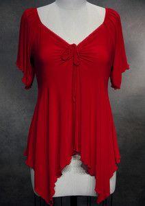 3d47d2cd4408c Witchy Gothic Handkerchief Hem Blouse Red 3X 22 24 Plus Size Shirt Top