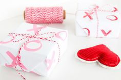 """More gift wrap ideas. The """"xo"""" pattern is easy to create at home.  Perfect for any occasion."""