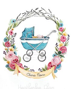 Baby Carriage Watercolor - Flowers - Custom Name- Original - 9 x 12