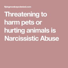 Threatening to harm pets or hurting animals is Narcissistic Abuse