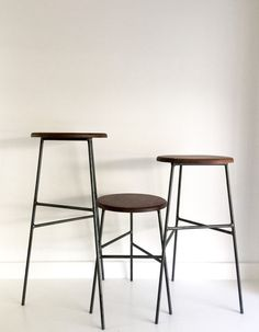 Black Walnut Wood And Raw Steel - Dining, Counter, And Bar Stools
