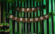 Minecraft inspired Birthday Banner custom by KMFCustomDesigns