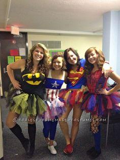 Cute Homemade Superhero Halloween Group Costumes for Girls