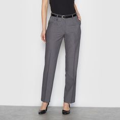 La Redoute Womens Striped Straight Stretch Twill Trousers