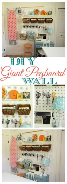 This is such a great idea for a craft storage area- how to install a DIY giant pegboard wall at thehappyhousie.com