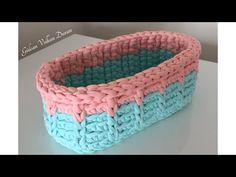 YouTube Crochet Case, Crochet Bowl, Crochet Storage, Crochet Basket Pattern, Crochet Purses, Crochet Patterns, Knitting Stiches, Loom Knitting, Double Knitting