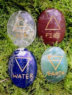 4 Elements Elemental Stone Set and Elemental Stone Quarter Markers Wicca Witchcraft, Wiccan, Magick Book, Caillou Roche, Magia Elemental, 4 Elements, Green Aventurine, Book Of Shadows, Stones And Crystals
