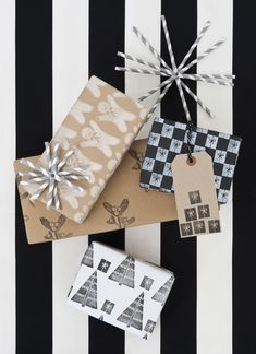Black & white Christmas gift wrapping.