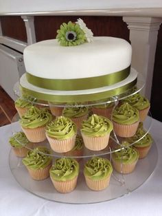 Wedding cake and cupcakes (not green though)