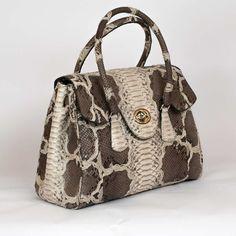 Genuine Roccia and brown python leather handbag