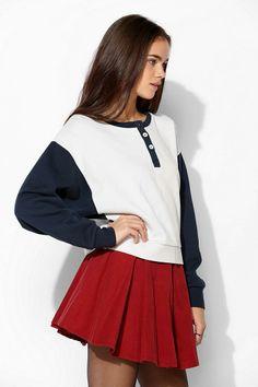 BDG Colorblock Henley Pullover Sweatshirt #urbanoutfitters