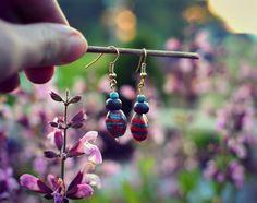Handmade scarlet blue bead earrings inspired by spring.