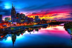 Nashville - we love this city, but I'm not quite sure I have or ever will see a sunset this vibrant and colorful here. It's a beautiful city skyline regardless though :) Oh The Places You'll Go, Places To Travel, Places To Visit, Travel Pics, Travel Usa, Dream Vacations, Vacation Spots, Beautiful World, Beautiful Places