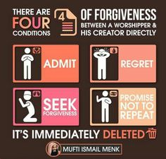 There are 4 conditions of forgiveness between a worshiper & his creator directly. Admit, regret, seek forgiveness, and promise not to repeat. the sin is) immediately deleted. Sin Quotes, Quran Quotes, Faith Quotes, Qoutes, Beautiful Islamic Quotes, Beautiful Words, Islam Marriage, Islamic Posters, Learn Islam