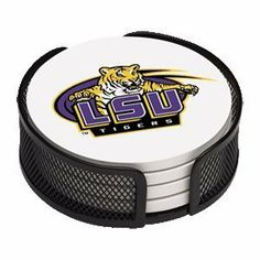 Absorbent Coaster Gift Set Louisiana State University - Coordinating Holder Included by Thirstycoasters. $14.99. Packaged in a wire mesh coaster holder in complimentary school color. 4 stone coasters per set with the same design. Each coaster measures 4.5 inches in diameter with cork backing. Collegiate Licensed Coasters printed in the U.S.A. (no decals). Cleans easily with mild liquid detergent and water. Sweaty glasses leaving rings on your furniture or desktop?  Are you us...