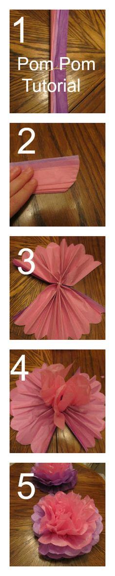 5-Step Pom Pom Centerpiece from Tissue Paper Tutorial | Charlie The Cavalier