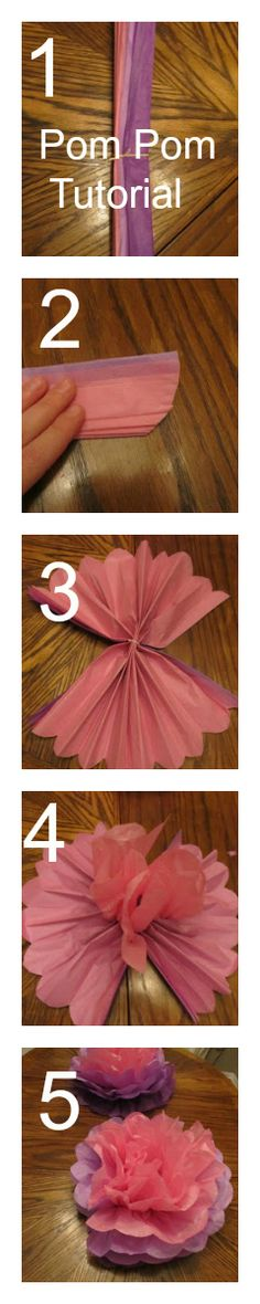 5-Step Pom Pom Centerpiece Tissue Paper Tutorial