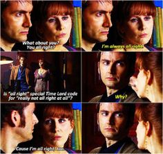 """""""all right"""" Doctor + Donna Donna she's so cool she's sassy and knows how to read people even people who hide there feelings very well Donna..."""