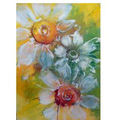 Daisies on Yellow abstract painting on paper by TheBloomingWall, $175.00