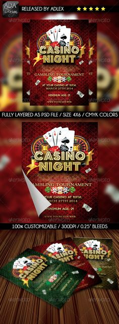 Casino Night Flyer — Photoshop PSD #dollar #casino night • Available here → https://graphicriver.net/item/casino-night-flyer-/6532023?ref=pxcr