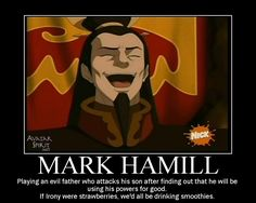 That awesome moment when you realize Fireload Ozai is also Luke Skywalker. I never knew! Why didn't anyone tell me!