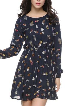 Long Sleeve Dress With Feathers Print
