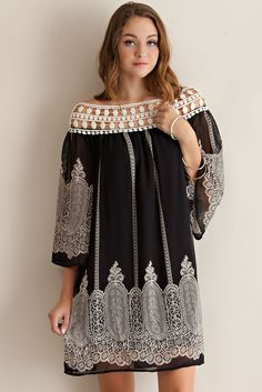Cathedral Border Print Dress - Black | Knitted Belle Boutique