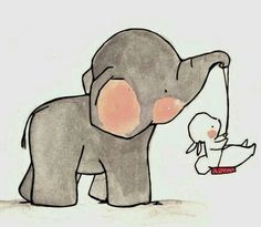 Baby elephant swings baby rabbit