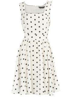Black & white polka dot dress, cute!! I would love to get one with teal polka dots, but that's just me...