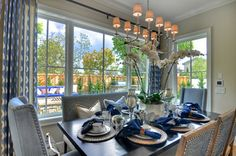 Shades of Blue in the Dining Room - Courtesy of Details a Design Firm